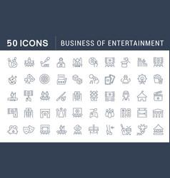 Set line icons entertainment business vector