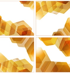 Set of abstract hexagon geometric golden vector image