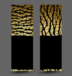 set of banners with gold texture decoration vector image