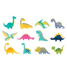 Set of cartoon cute dino vector