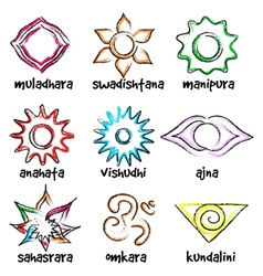 Set of chakras symbols vector