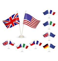 Set - table stand with flags vector
