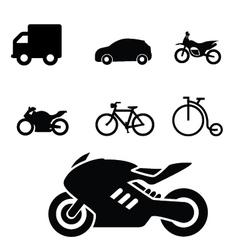 Set vehicles icon vector