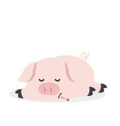 Sick pig cartoon vector