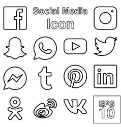 Social media logo icon set line or outline style vector