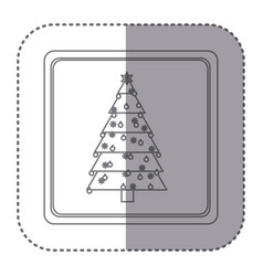 sticker of silhouette frame of christmas tree with vector image
