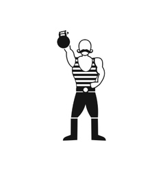 Strong man with kettlebell icon simple style vector