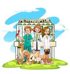 Three vets and many pets at hospital vector