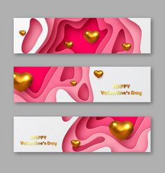 valentines day holiday horizontal stickers vector image
