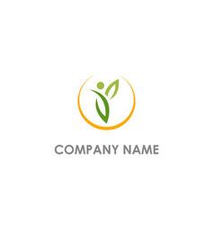 Vegan leaf people logo vector