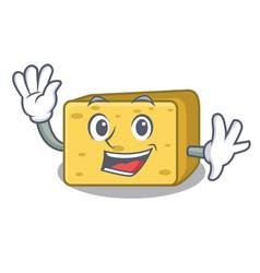 Waving character fresh gouda cheese vector
