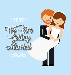 We are greeting married man carrying woman lovely vector