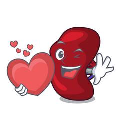 With heart spleen mascot cartoon style vector