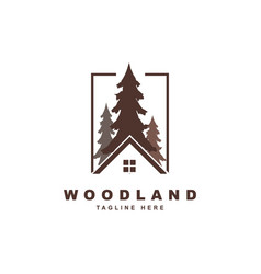 Wood with rohouse logo design vector