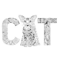Word cat for coloring decorative zentangle vector