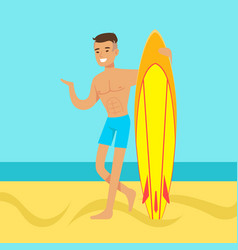 Young man walking on the beach with surfboard vector