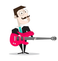 Bass Guitar Player Isolated on White - Retro Flat vector image