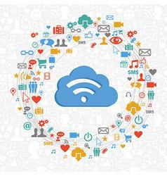 Cloud computing service circle vector image vector image