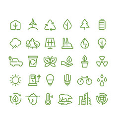 eco and green environment line icons vector image
