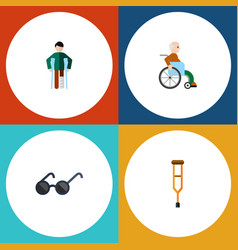 flat icon cripple set of handicapped man stand vector image vector image