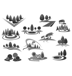 gardening or green landscape design icons vector image vector image