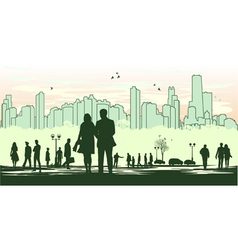 green outline silhouette of the city vector image vector image