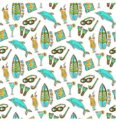 hand drawn surfing and diving seamless pattern vector image