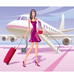 Fashion model is traveling by aircraft vector image vector image