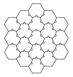 hexagonal jigsaw puzzle template puzzle vector image vector image