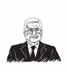 mahmoud abbas president of palestine black white vector image vector image