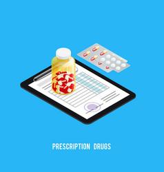 pills recipe pharmacy background vector image