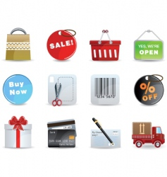 shopping icon set vector image vector image