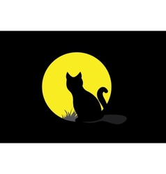 Silhouette of a black cat over moonlight vector image vector image
