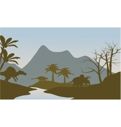 Silhouette of dinosaur in riverbank vector image vector image
