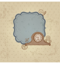 Vintage Card with Doodle Clock and gear vector image vector image
