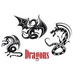 Black danger dragons vector image vector image