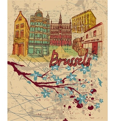 brussels doodles vector image vector image