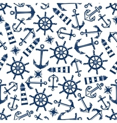 Marine seamless pattern with blue items vector image vector image