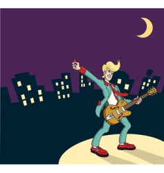 rock and roll guitarist vector image vector image