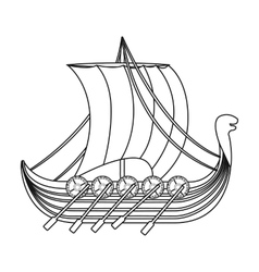 Viking s ship icon in outline style isolated on vector image