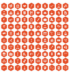 100 team building icons hexagon orange vector