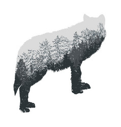 abstract silhouette of howling wolf with vector image