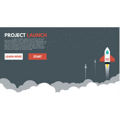rocket to the space clouds vector image