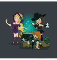 Three witches brew potion vector image
