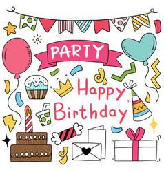 07-09-050 hand drawn party doodle happy birthday vector