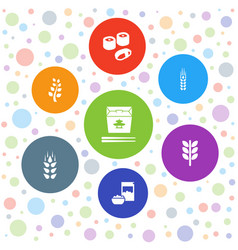 7 rice icons vector