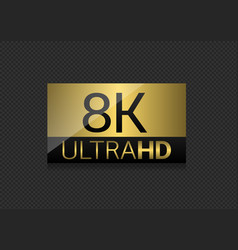 8k ultra hd label vector image