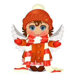 Animated cute little girl with blue eyes in winter vector