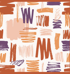 Artistic seamless pattern with rough paint traces vector