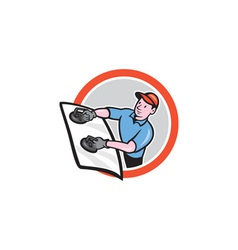 Automotive Glass Installer Front Circle Cartoon vector